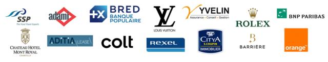 Exemple entreprises partenaires : Bred, adami, Louis Vuitton, BNP PARIBAS, Colt, Orange, SSP, Rolex, Rexel ....